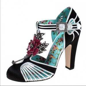 Gucci black satin flower embellished shoes